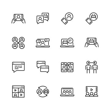 Communication smart technologies vector icon set in thin line style