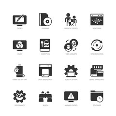Operating system and its management vector icon set in glyph style
