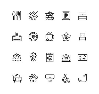 Hotel facilities and services vector icon set in outline style