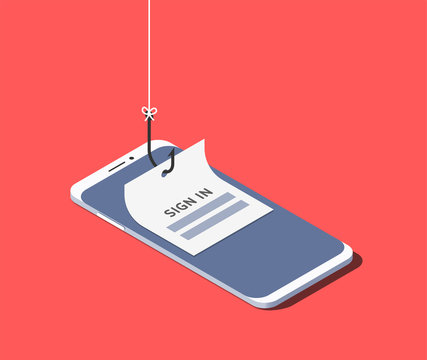 Sign-in form on fishing hook on the screen of a smartphone. Scam and phishing concept. Vector isometric illustration