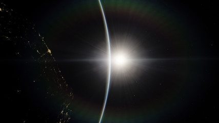 Near, low earth orbit blue planet. this image elements furnished by NASA.