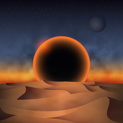 Retro 80s futuristic landscape design. Sunset of a black sun over desert