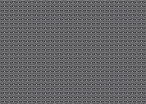 Seamless vector pattern of european '6 in 1' chain mail with thick rings