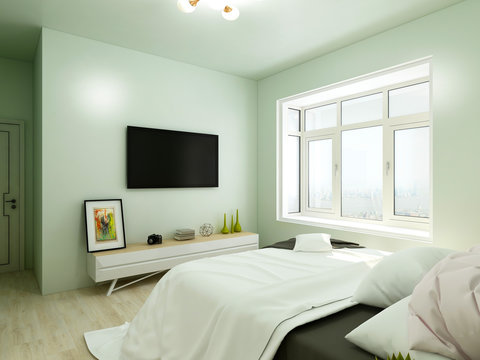 Light green tones bedroom, double bed and front TV cabinet and TV