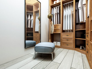 Narrow coat closet, brown closet