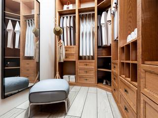 Narrow coat closet, brown closet