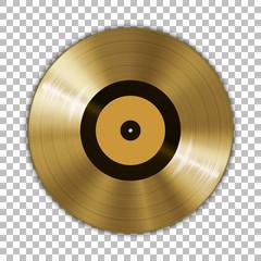 Fototapeta Gramophone golden vinyl LP record template isolated on checkered background. Vector illustration obraz
