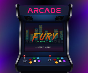 Retro arcade machine. Vector illustration