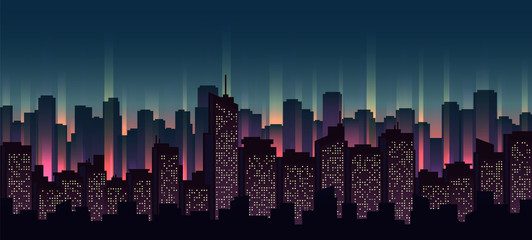 Urban neon landscape, nighttime cityscape vector illustration