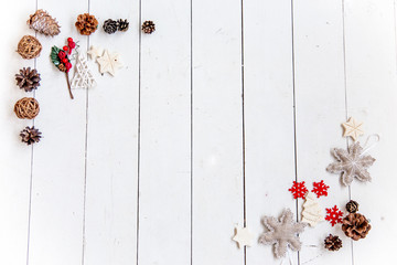 Set of christmas things on a wooden background