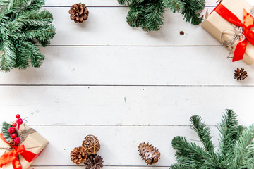 Christmas presents and boxes on wooden background
