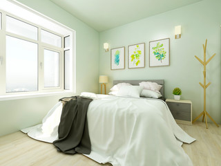 Light green cozy bedroom and bay window next to it