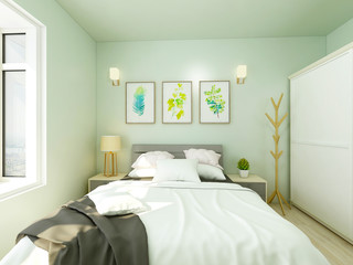 Light green tones bedroom, double bed and white custom closet