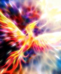 Flying phoenix bird as symbol of rebirth and new beginning. Fractal effect.