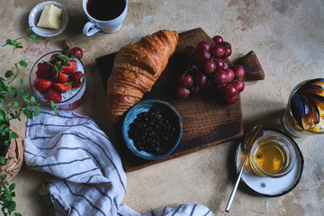 A nice homemade Breakfast in a rustic style
