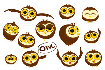 Set of owls cartoon character with different emotions isolated on white background. Vector illustration