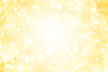 abstract blur glowing gold yellow color background with bokeh ,snow and shine star for merry christmas and happy new year  Wall mural