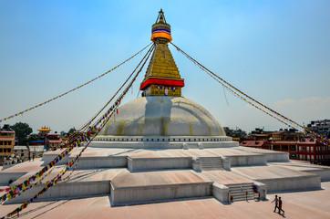 KATHMANDU, NEPAL - 18 April 2013: Buddhist temple Boudanath stupa, Kathmandu, Nepal