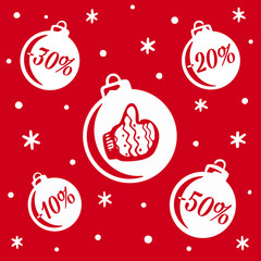 Christmas balls sale. Christmas and New Year's sale. Banner or poster for shopping store discount