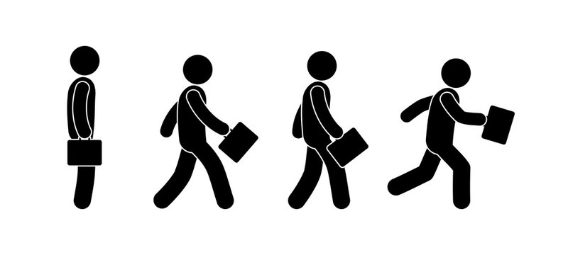 stick figure, man walking, businessman with a briefcase, a set of movements, human silhouette