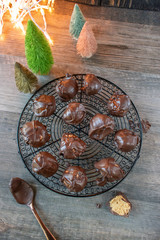Christmas chocolate covered peanut butter balls candy flat lay