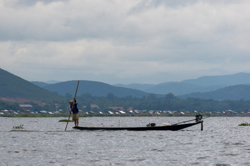Life of fisherman at river side in Inle lake, Shan state, Myanmar