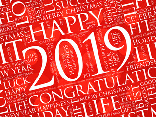 2019 year greeting word cloud collage, Happy New Year celebration greeting card