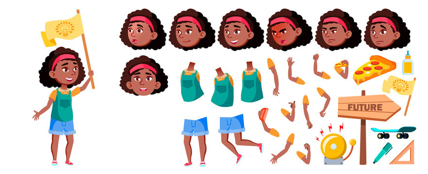 Black Afro American Girl Vector. Animation Creation Set. Face Emotions, Gestures. Child, Pupil. For Advertising, Placard, Print Design. Animated. Isolated Illustration