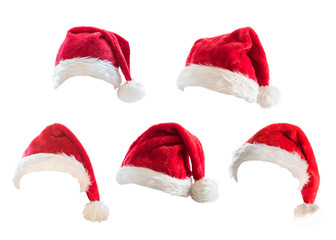 Santa Claus helper red hat costume set isolated on white background with clipping path for Christmas and New Year holiday seasonal festive celebration design decoration