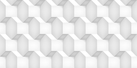 Volume realistic vector cubes texture, light geometric seamless pattern, design white background for you projects