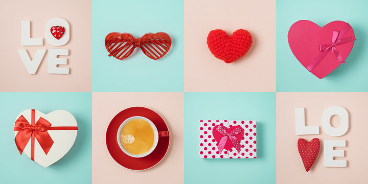 Valentines day minimal concept  with heart shape, gift box and coffee cup