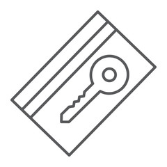 Key card thin line icon, hotel and access, electronic pass sign, vector graphics, a linear pattern on a white background.