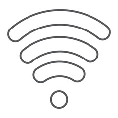 Wi-fi thin line icon, wireless and communication, internet sign, vector graphics, a linear pattern on a white background.
