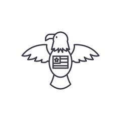 American eagle line icon concept. American eagle vector linear illustration, sign, symbol