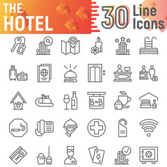 Hotel line icon set, service symbols collection, vector sketches, logo illustrations, hostel signs linear pictograms package isolated on white background.