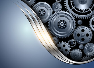 Abstract background metallic silver blue with gears