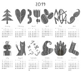Calendar 2019 in flat style with hand drawn numbers. Monthly calendar with objects, animals, lettering