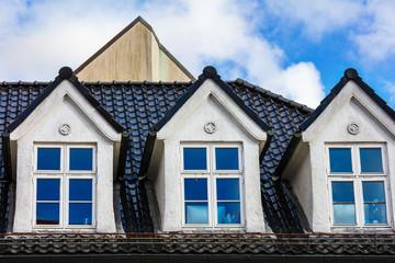 mansard windows on roof in medieval house