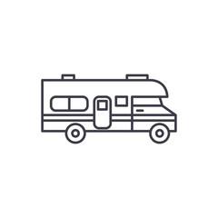 Caravan car line icon concept. Caravan car vector linear illustration, sign, symbol