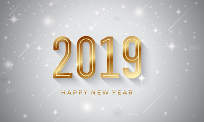 Happy New Year 2019. Creative vector greeting illustration with golden number.