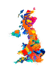 United Kingdom. Silhouette of UK map of watercolor splash paint