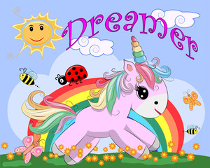 Poster Chambre d enfant Pink unicorn on a meadow with flowers, rainbow, sun. Child illustration, fairy-tale character, dreamer