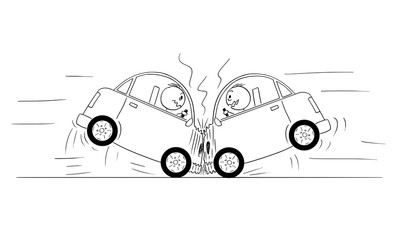 Obraz Cartoon stick drawing conceptual illustration of two cars frontal head-on crash accident. - fototapety do salonu