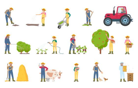 Farmer Busy with Seasonal Work Vector Illustration