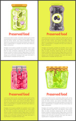 Preserved Food with Marinade in Jars Posters Set