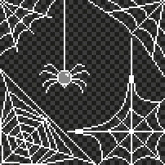 Pixel spider web frame detailed illustration isolated vector
