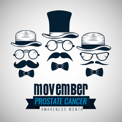 male mustache with hat and glasses to movember