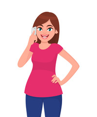 Smiling beautiful young woman talking on smart phone while holding hand on hip, standing against white background. Modern lifestyle and communication concept illustration in vector cartoon flat style.