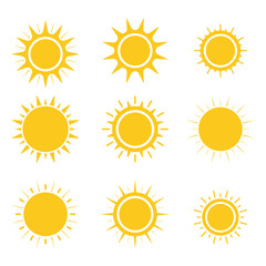 Sun icons set. Flat design. Vector.