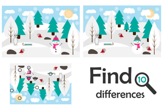 Find 10 differences, game for children, winter snowy forest in cartoon style, education game for kids, preschool worksheet activity, task for the development of logical thinking, vector illustration